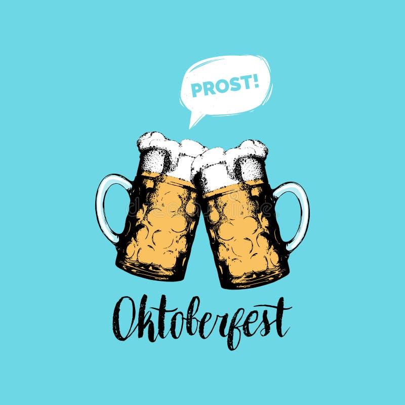Oktoberfestvlieger De vectoraffiche van het bierfestival Brouwerijetiket of kenteken met uitstekende hand geschetste glasmokken vector illustratie