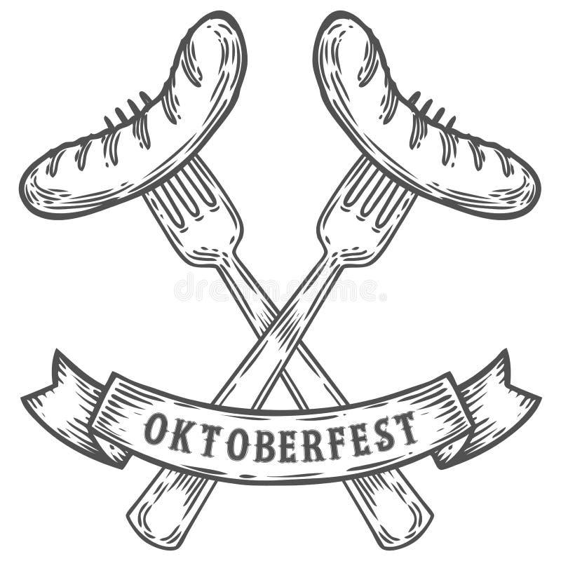 Oktoberfestworst op vork De gelukkige meest oktoberfest Zwarte gegraveerde wijnoogst van het vleesvoedsel royalty-vrije stock afbeeldingen