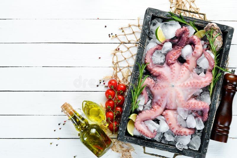 Oktopus med kryddor på ett vitt träbord Seafood arkivfoto