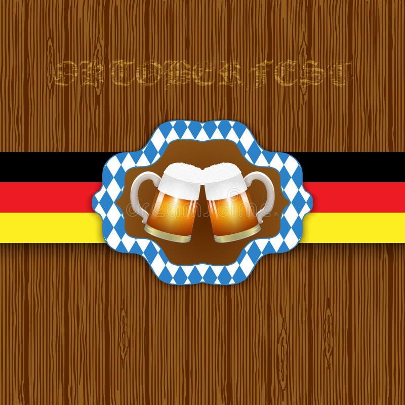 Oktouberfestachtergrond Twee mokken bier op een houten achtergrond stock illustratie