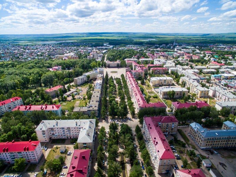 Oktyabrsky miasto, widok z lotu ptaka Bashkortostan zdjęcia stock