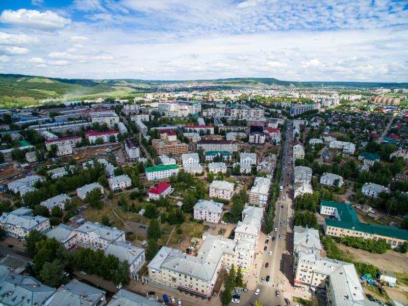 Oktyabrsky-Stadt, Vogelperspektive Bashkortostan stockfotografie