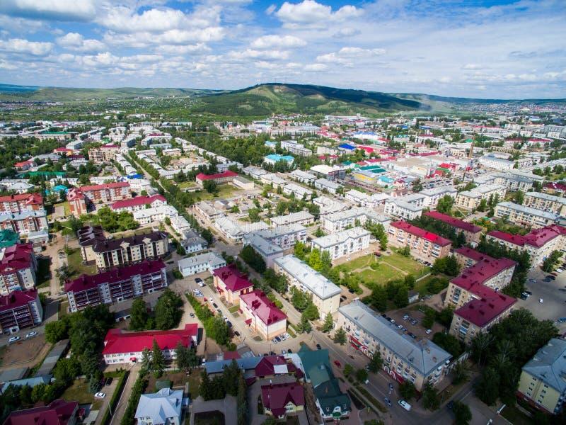 Oktyabrsky-Stadt, Vogelperspektive Bashkortostan lizenzfreie stockbilder