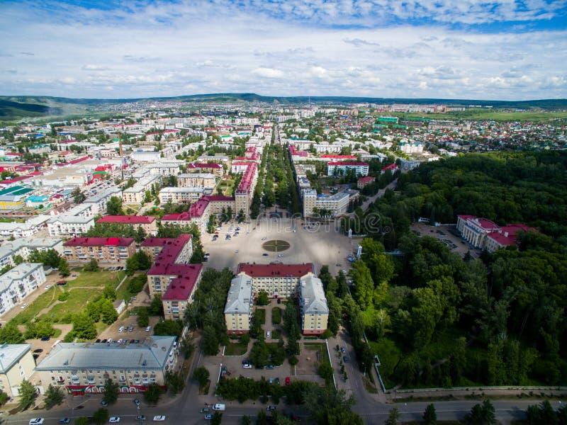 Oktyabrsky-Stadt, Vogelperspektive Bashkortostan stockbilder