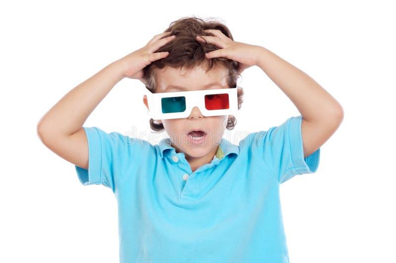 okulary 3 d dziecko whit zdjęcie stock