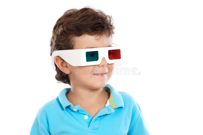 okulary 3 d dziecko whit fotografia royalty free