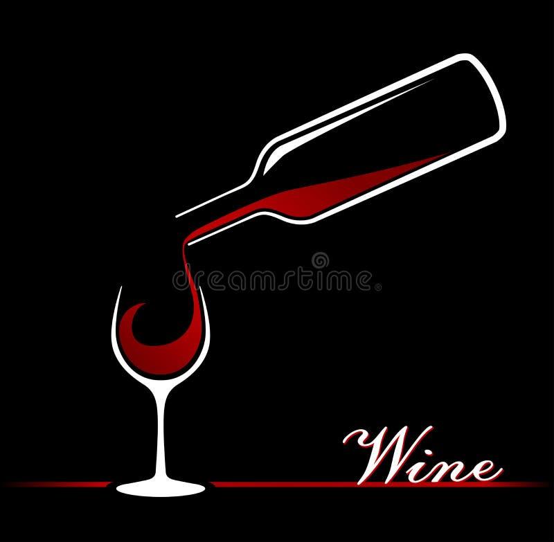 okulary butelek czerwonego wina ilustracji