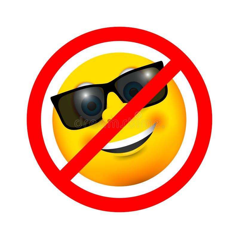 Okulary przeciwsłoneczni uśmiecha się emoji ikonę żadny wejście znak ilustracji