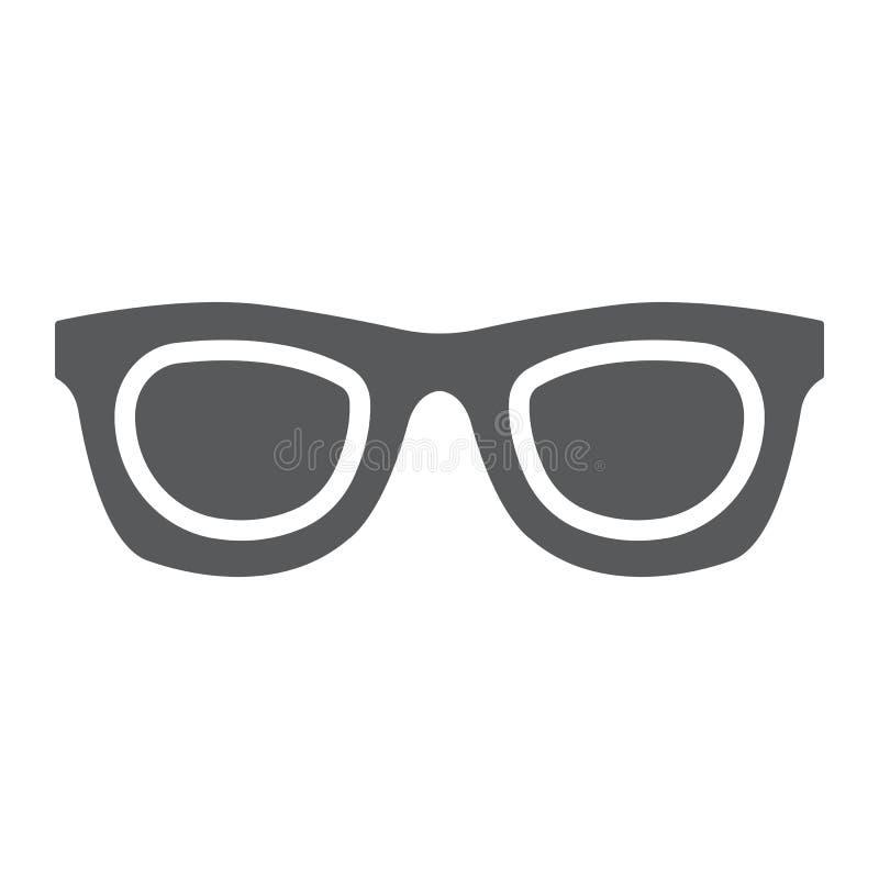 Okulary przeciwsłoneczni glifu ikona, akcesorium i szkła, eyeglasses podpisujemy, wektorowe grafika, bryła wzór na białym tle royalty ilustracja