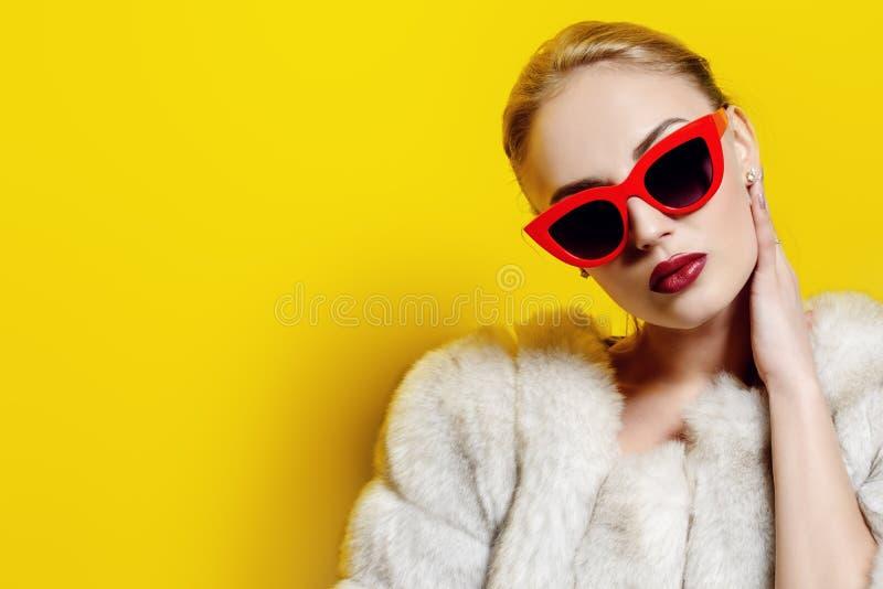 Okulary przeciwsłoneczni i futerkowy żakiet obrazy stock