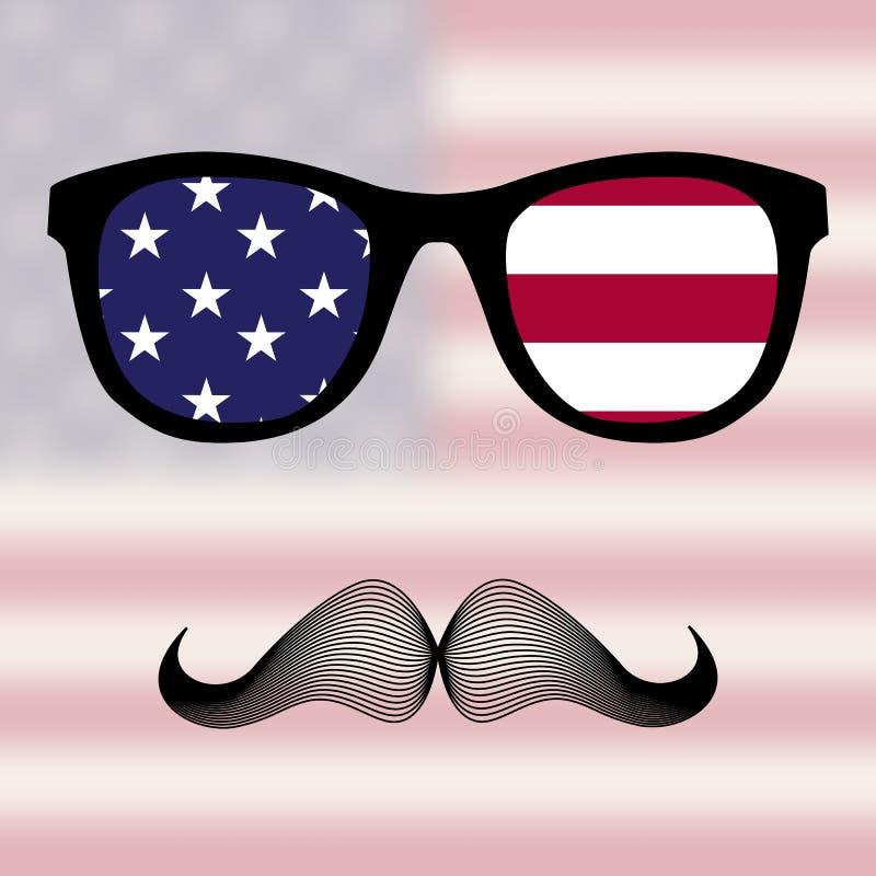 Okulary przeciwsłoneczni i wąsy. ilustracja wektor