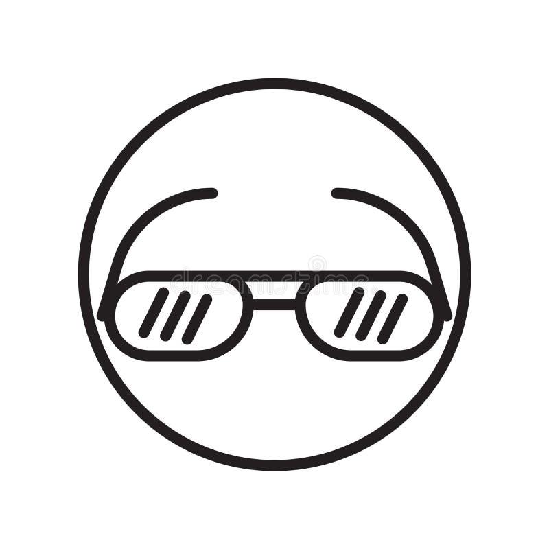 Okulary przeciwsłoneczni ikony wektor odizolowywający na białym tle, okulary przeciwsłoneczni podpisuje, liniowi sportów symbole ilustracja wektor