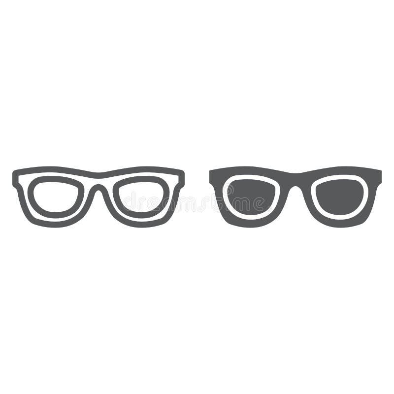 Okulary przeciwsłoneczni linia, glif ikona, akcesorium i szkła, eyeglasses podpisujemy, wektorowe grafika, liniowy wzór na bielu royalty ilustracja