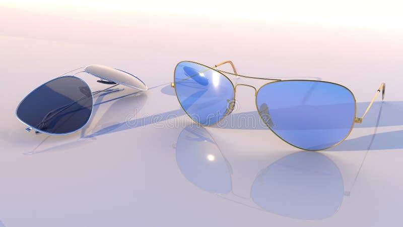 Okulary przeciwsłoneczni - lotnik dwa pary z błękita i czerni szkłem, zdjęcie stock
