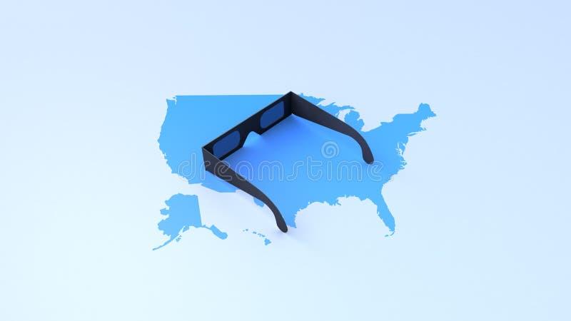 okulary przeciwsłoneczni na mapie usa zdjęcia royalty free