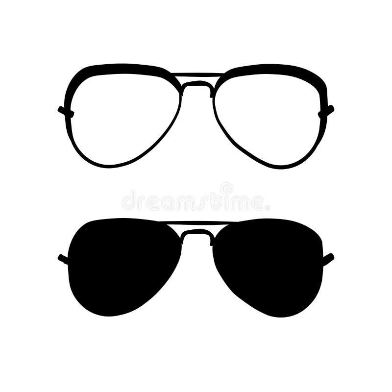 Okulary przeciwsłoneczni w czarny i biały ilustracji
