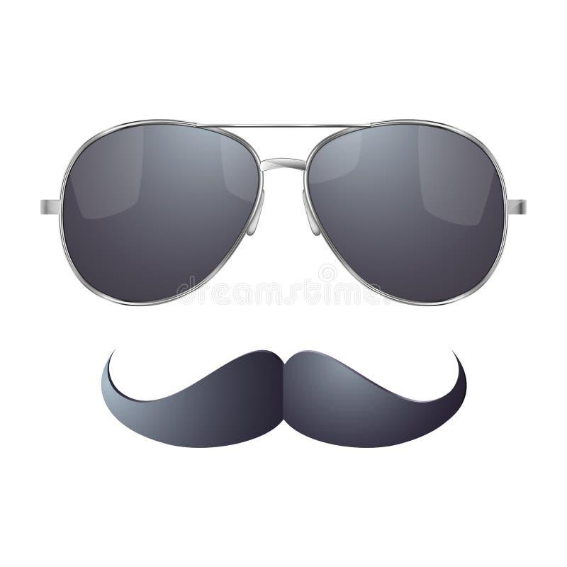 Okulary przeciwsłoneczni z wąsy ilustracja wektor