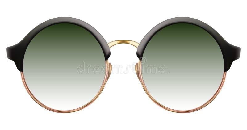 Okulary przeciwsłoneczni z zielonym obiektywem i złocistą kruszcową ramą ilustracja wektor