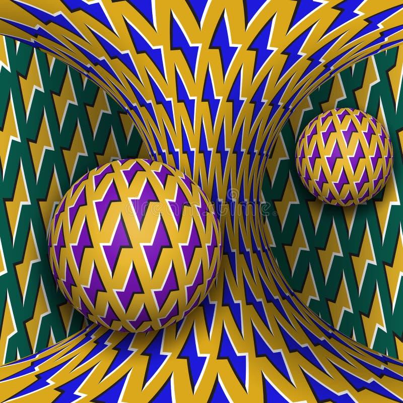 Okulistyczna ruchu złudzenia ilustracja Dwa sfery są płodozmienni poruszająca hiperboloida wokoło Abstrakcjonistyczna fantazja w  ilustracji