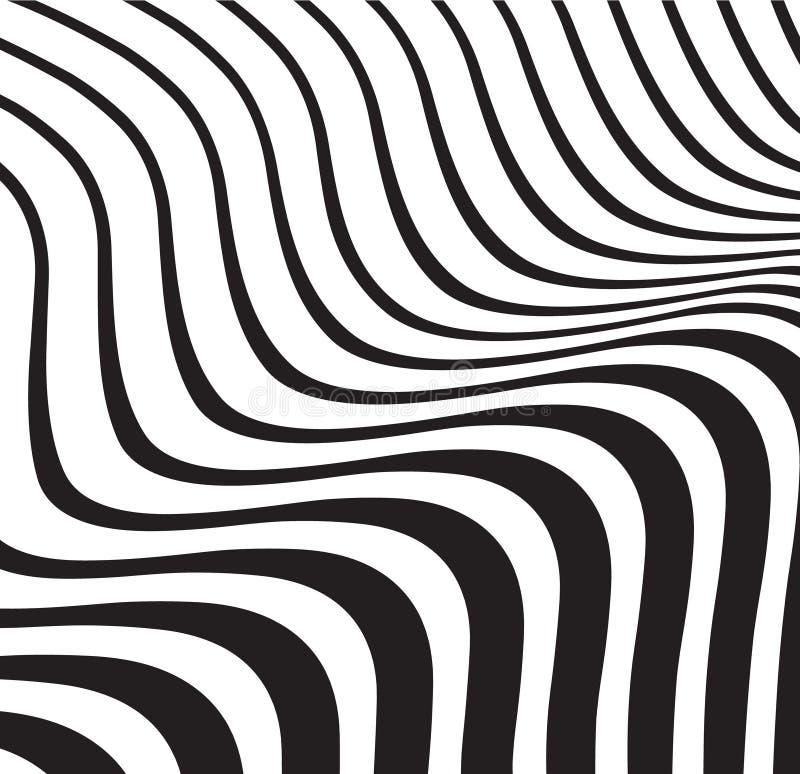 Okulistycznego falowego abstrakta pasiasty tło czarny i biały ilustracji