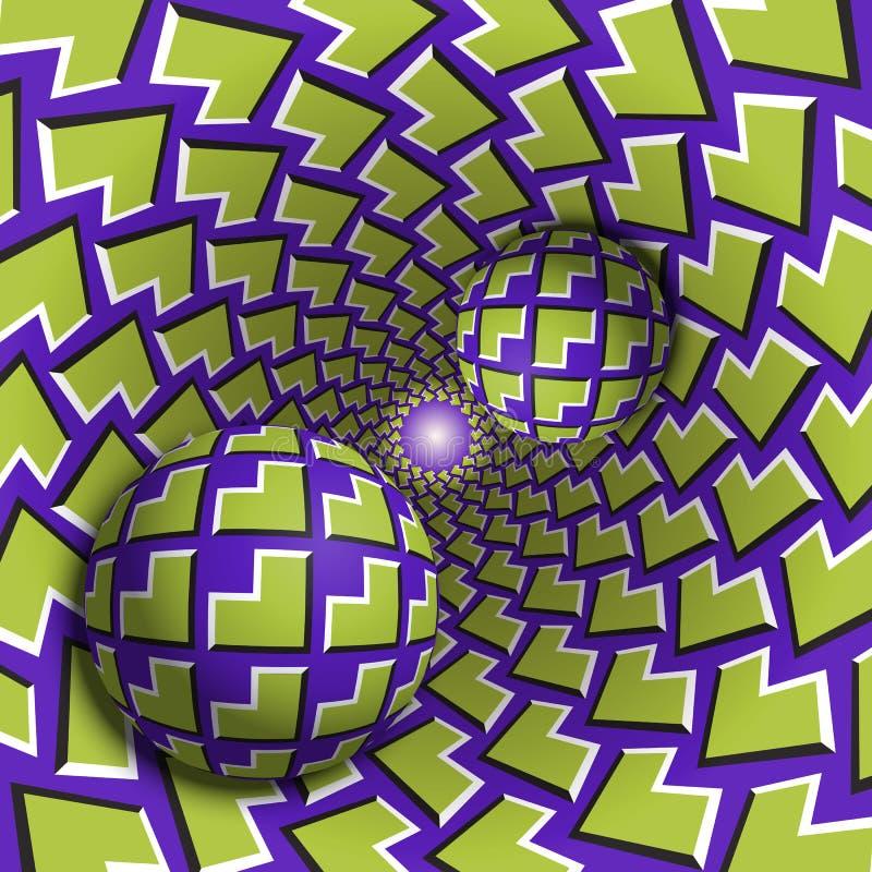 Okulistycznego złudzenia ilustracja Dwa piłki ruszają się w żyłkowanej dziurze Zieleń kąty na purpura wzoru przedmiotach royalty ilustracja