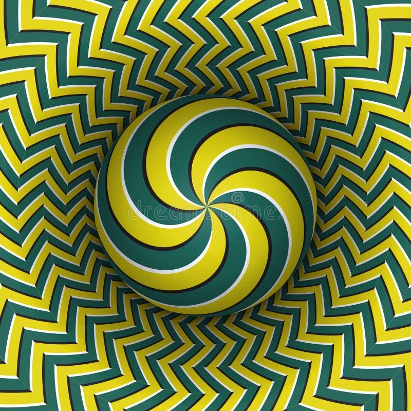 Okulistycznego złudzenia wektoru ilustracja Wielokrotności ślimakowata sfera wznosi się nad pstrobarwna powierzchnia Zieleni kolo royalty ilustracja
