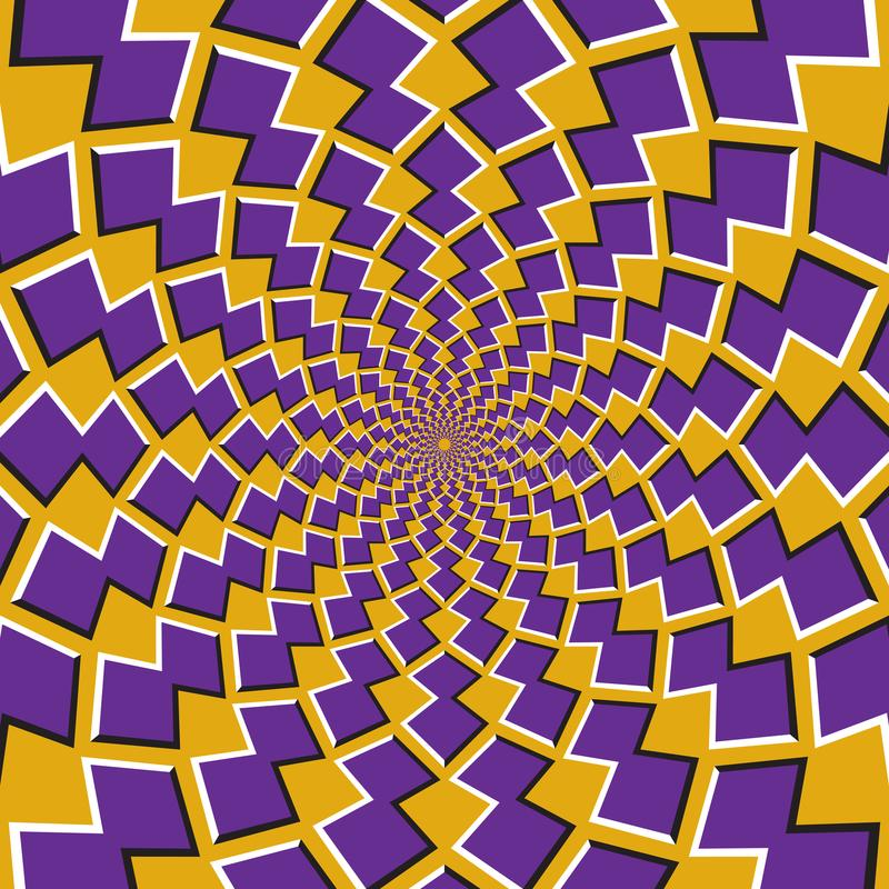 Okulistyczny ruchu złudzenia tło Purpurowi kształty krążą wokoło centrum na żółtym tle ilustracja wektor