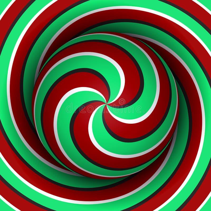 Okulistyczny ruchu złudzenia tło Sfera z czerwonym zielonym wielokrotności spirali wzorem na helix tle ilustracja wektor