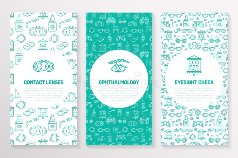 Okulistyka, medyczny broszurka szablon, ulotka Oko opieki zdrowotnej ikon ciency kreskowi szkła kontaktowe, wzroku czek śliczny ilustracji
