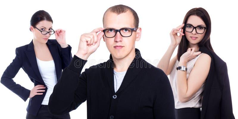 Okulistyki i optometry pojęcie - ludzie biznesu w eyeglas obrazy royalty free
