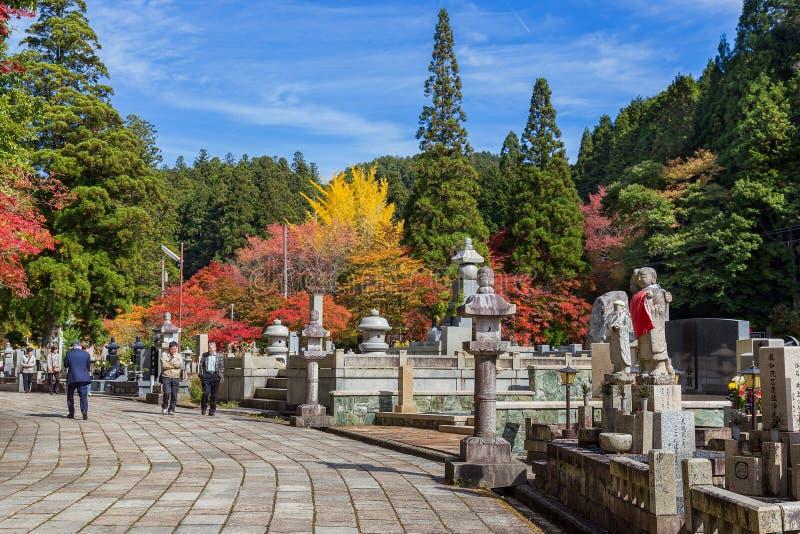 Okunointempel met Kerkhofgebied in Koyasan (MT Koya) in Wakayama stock fotografie