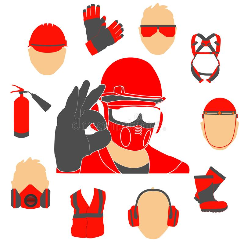 Okupacyjny bezpieczeństwo i zdrowie ikony ustawiający znaki i ilustracja wektor