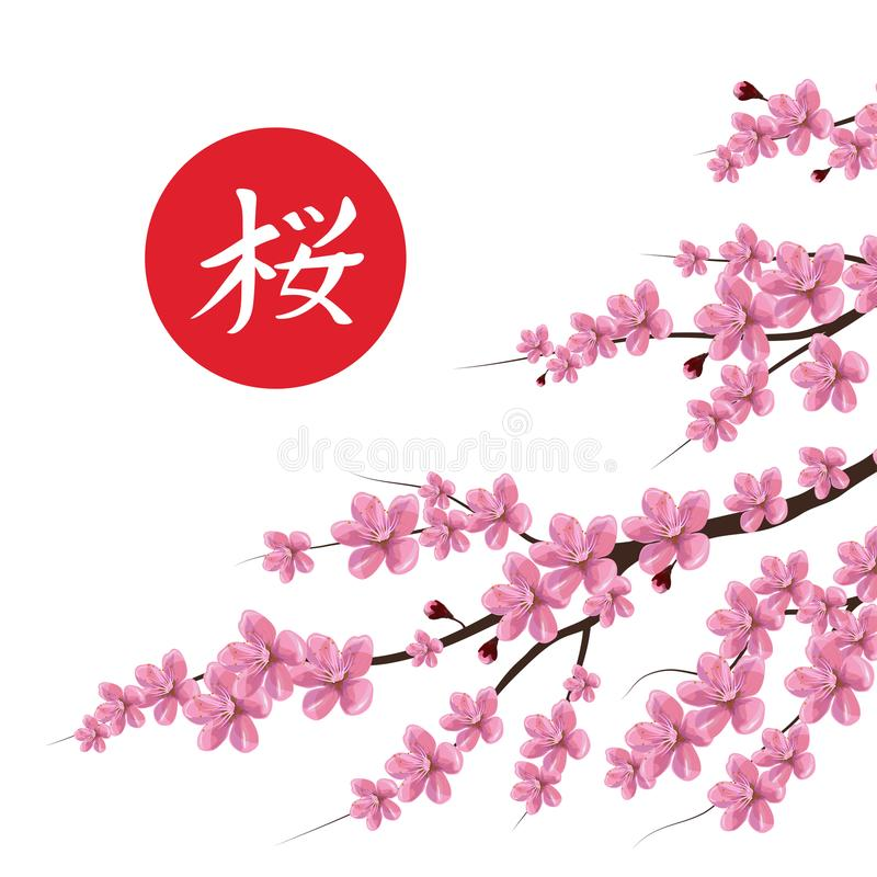 Okwitnięcia czereśniowy drzewo Tradycyjny japończyk Sakura royalty ilustracja