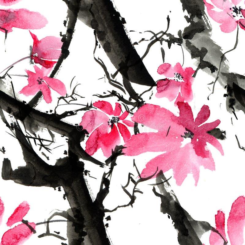 Okwitnięcia drzewa wzór ilustracji
