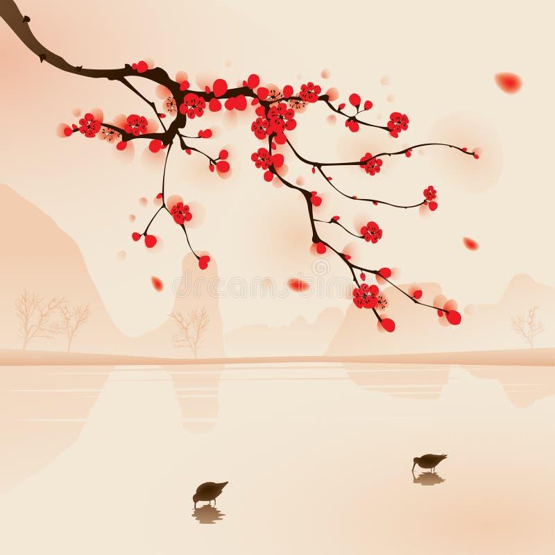 okwitnięcia orientalnego obrazu śliwkowy wiosna styl ilustracja wektor