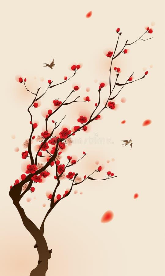 okwitnięcia orientalnego obrazu śliwkowy wiosna styl royalty ilustracja