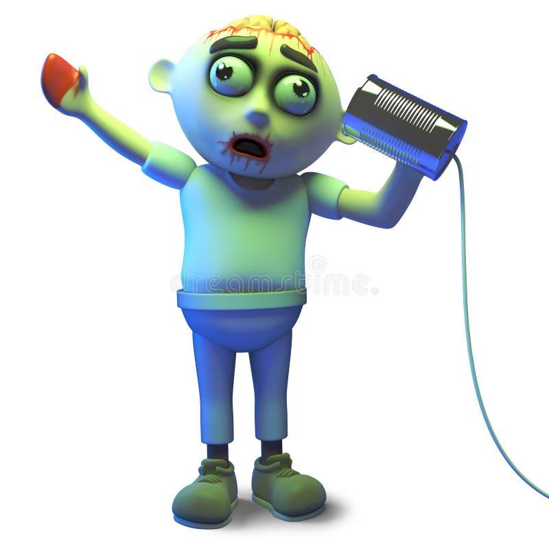 Olá! é mim que você está procurando pergunta a monstro do zombi no telefone da lata de lata, ilustração 3d ilustração royalty free