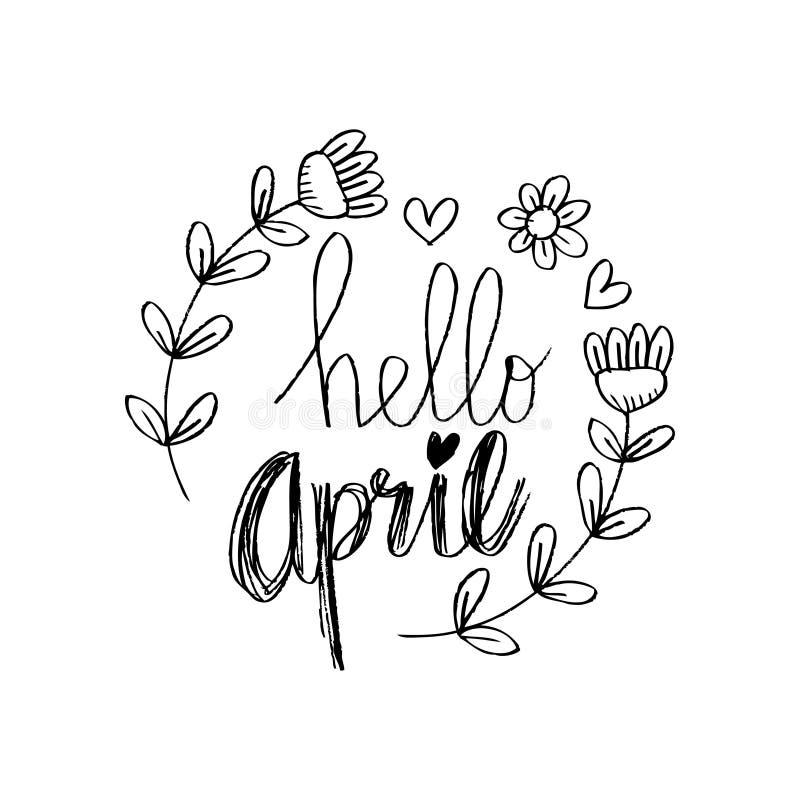 Olá! abril ilustração stock