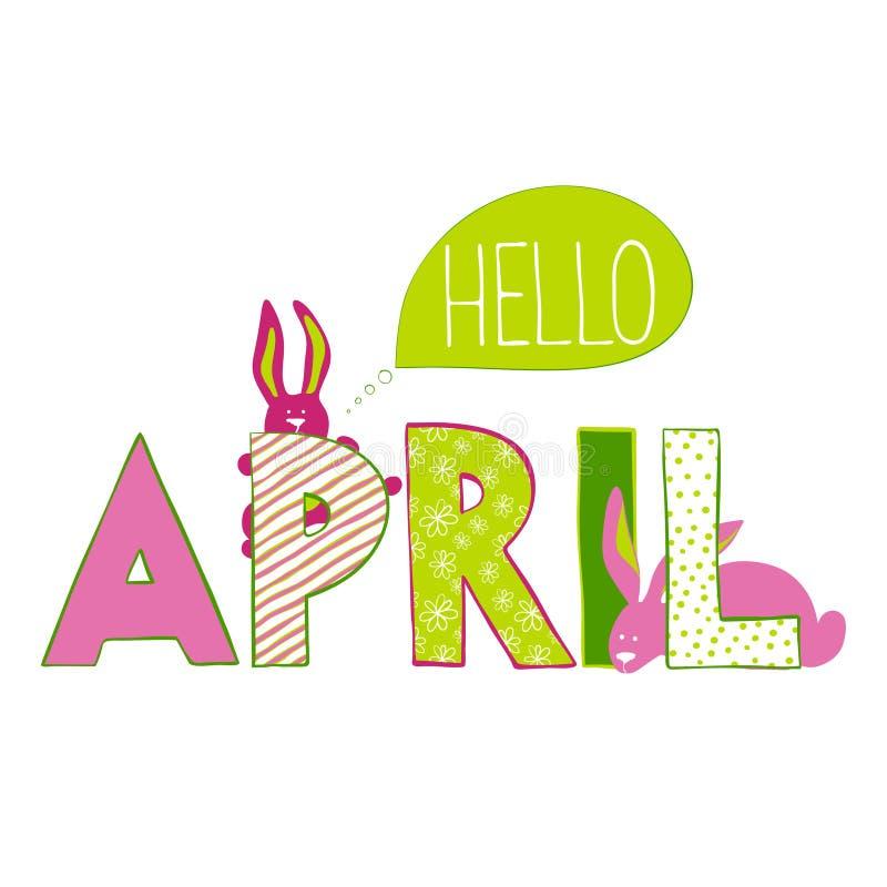 Olá! abril Rotulação com coelhos ilustração royalty free