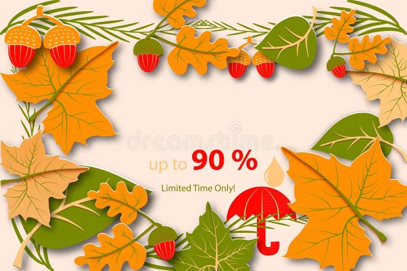 Olá! anúncio do outono para a venda Molde do projeto da queda da disposição do exemplo para um cartaz, um inseto ou um folheto ilustração do vetor
