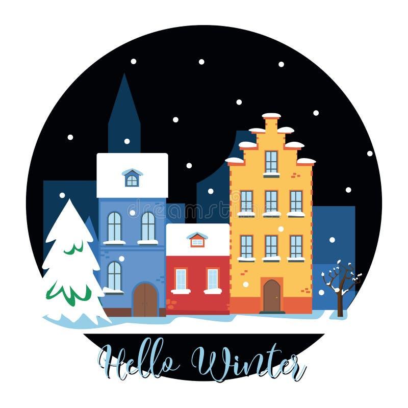 Olá! arquitetura da cidade do inverno A cidade em feriados de inverno Paisagem urbana Ilustração lisa do vetor ilustração stock