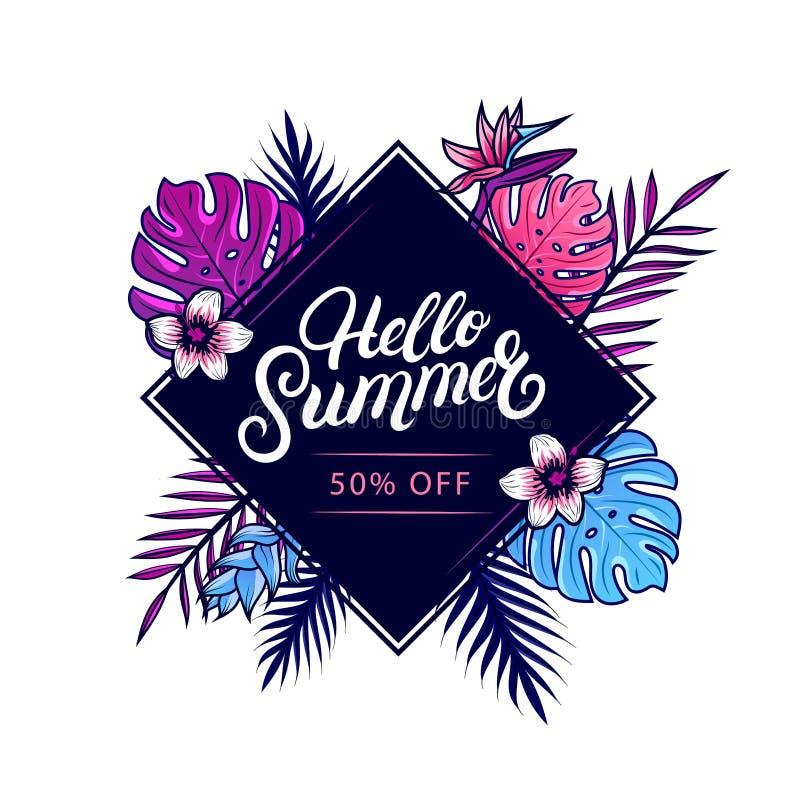 Olá! bandeira colorida da venda do verão ilustração stock