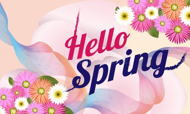 Olá! bandeira da mola com flor bonita Pode ser usado para o molde, bandeiras, papel de parede, insetos, convite, cartazes, folhet ilustração do vetor