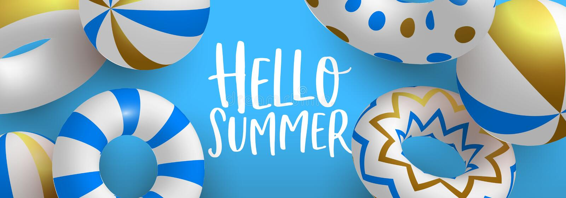 Olá! bandeira da Web da salva-vidas da associação do ouro do verão 3d ilustração stock