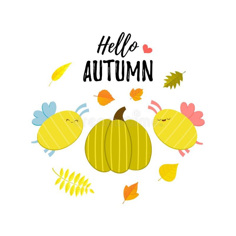 Olá! bandeira do cumprimento do outono com abóbora dos desenhos animados, abelhas e estilo liso de queda de Autumn Leaves Vetor b ilustração royalty free