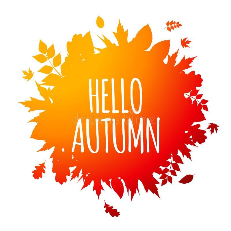 Olá! brilhante Autumn Natural Leaves Background Ilustração do vetor ilustração royalty free