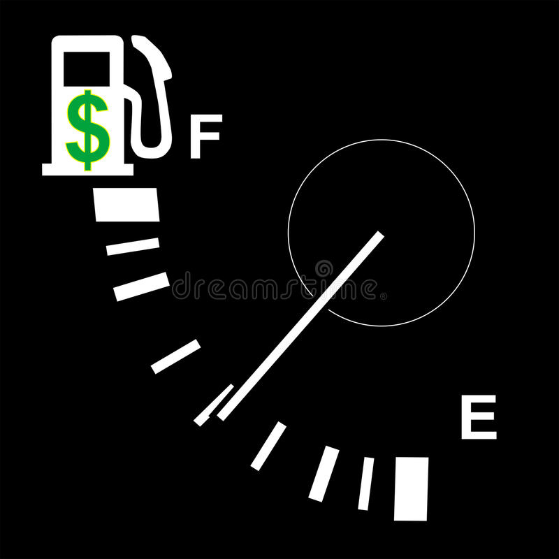 Olá! calibre de combustível do preço de gás ilustração royalty free