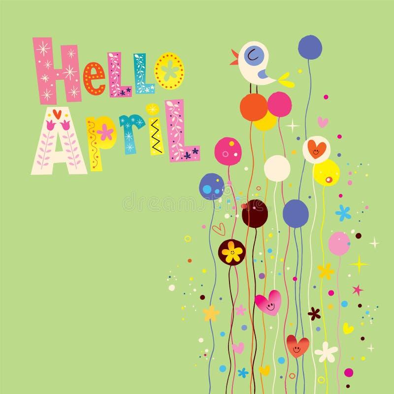 Olá! cartão da mola de abril ilustração royalty free