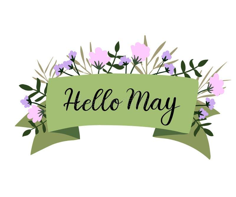 Olá! cartão da rotulação da mão de maio, bandeira, convite Caligrafia moderna ilustração stock