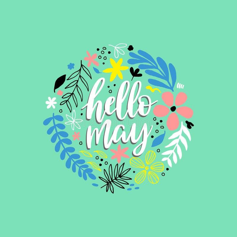 Olá! cartão de maio com flores ilustração stock